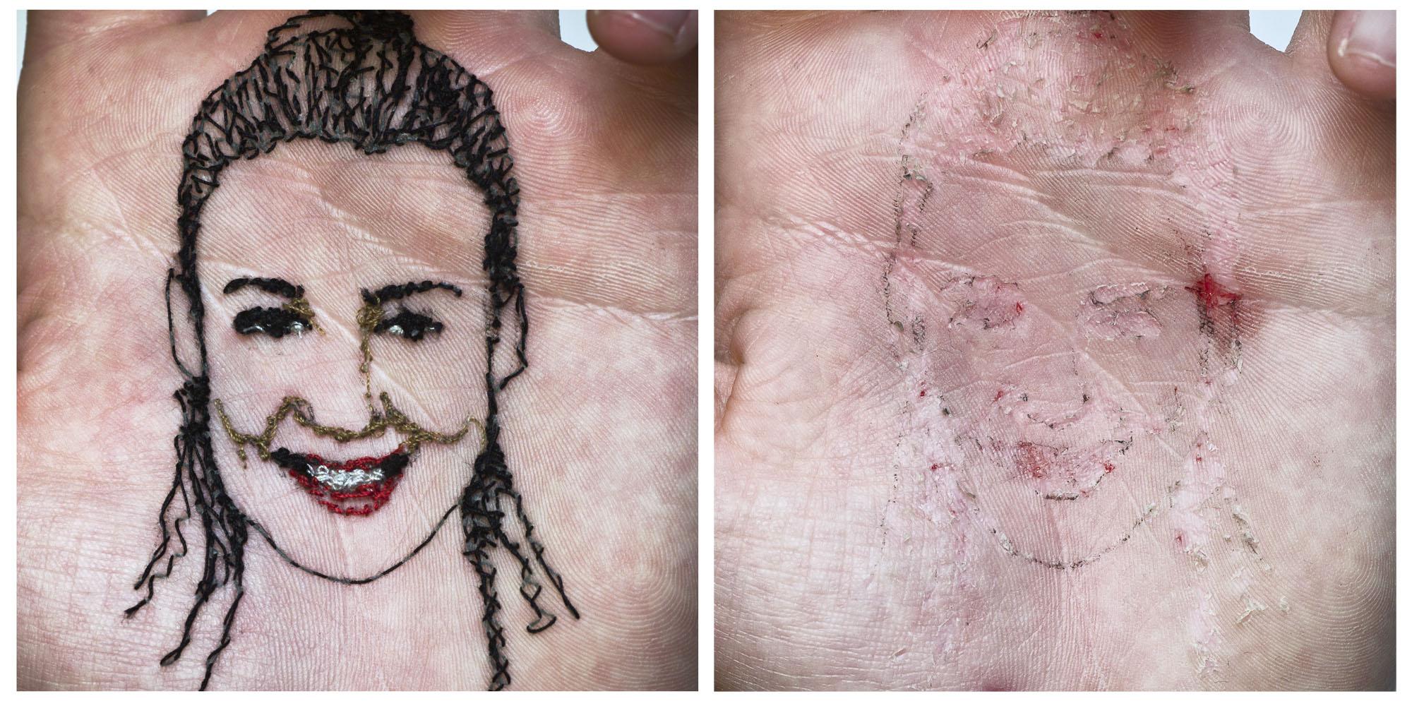 Mi novia Laura A flor de piel, 25. Baritado sobre dibond. 50x50 cm c/u. 2016