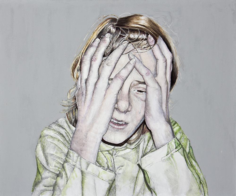 Llorones, 01. Técnica mixta sobre lienzo. 50 x 60 cm. 2008